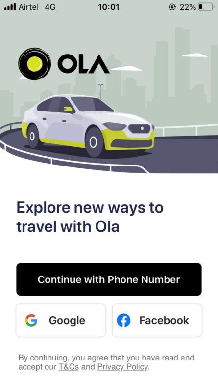 インド,配車タクシー,アプリ,ola,使い方