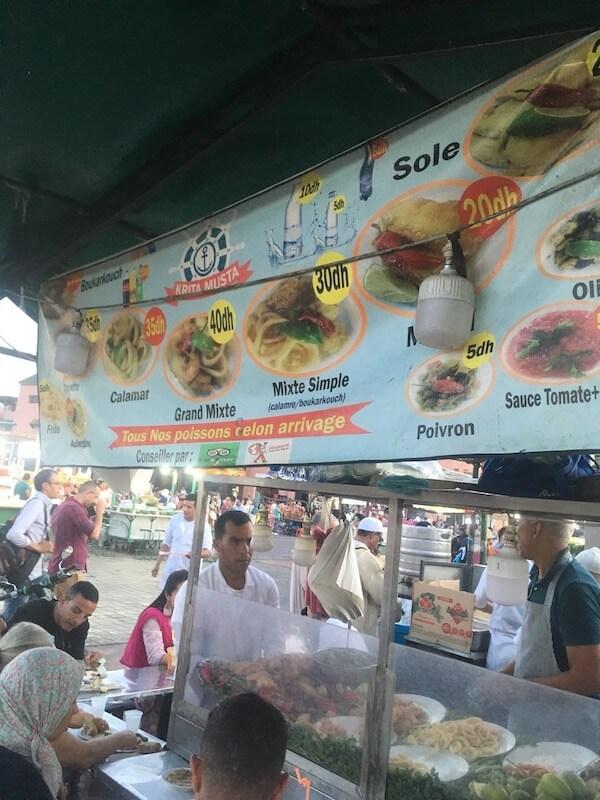 モロッコ,マラケシュ,グルメ,食べ歩き,レストラン,ローカルフード,海鮮料理